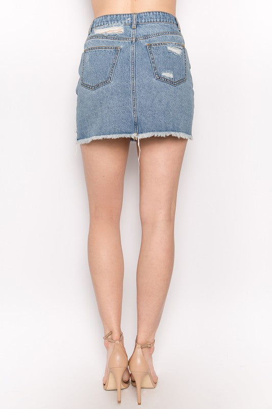 Highway Miles Distressed Denim Skirt