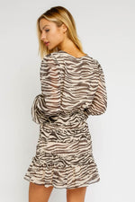 Way Up Zebra Smocked Mini Dress (4268649447563)