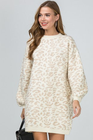 Helena Leopard Sweater Dress