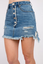Mal Distressed Denim Skirt (4624364634251)