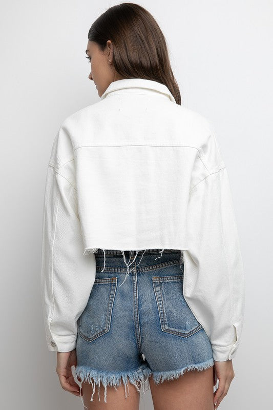 Santa Monica White Denim Jacket (4624371581067)