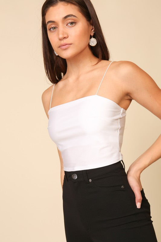 Emma Cropped Tank - White