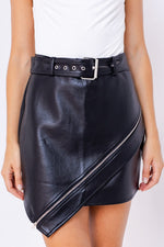 Bar Tab Black Leather Skirt