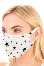 Star Print Mask - White