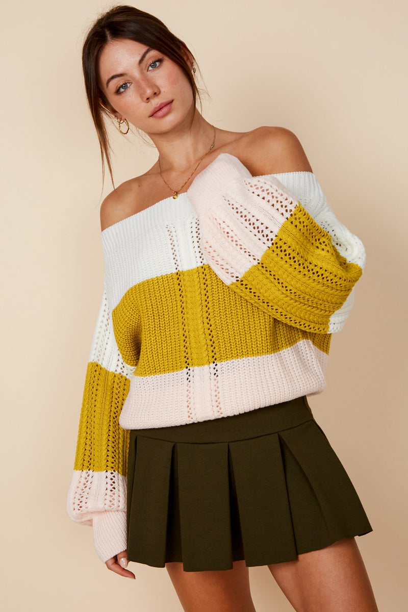 Annemarie Off the Shoulder Striped Sweater