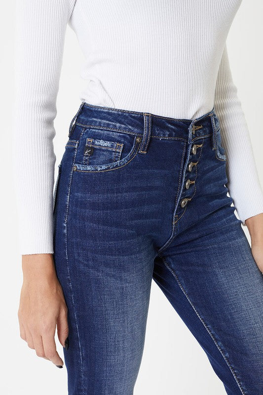 Mel Hight Rise Button Front Skinny Jeans