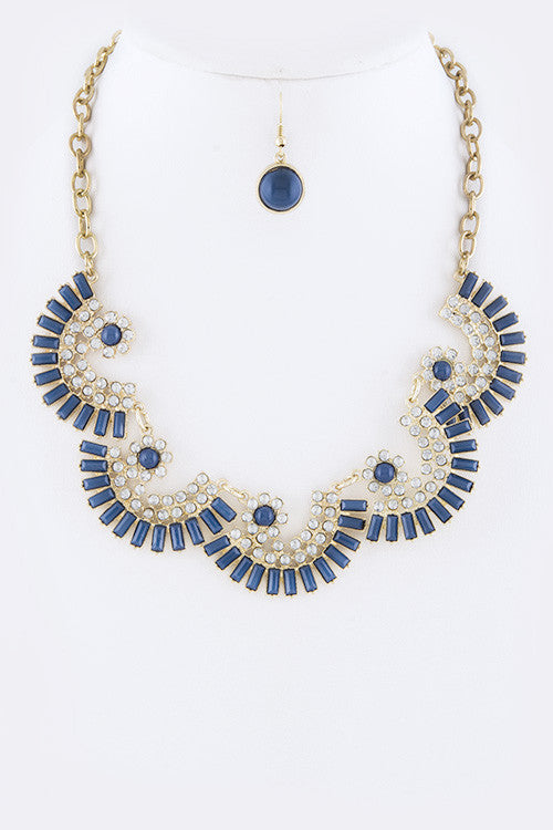 Crystal Fan Statement Necklace Set