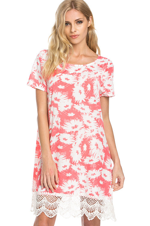 Coral Days Floral Dress