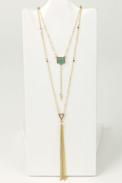 Double Layered Stone Necklace (5880044165)