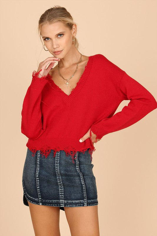Brooklyn Frayed Sweater - Red