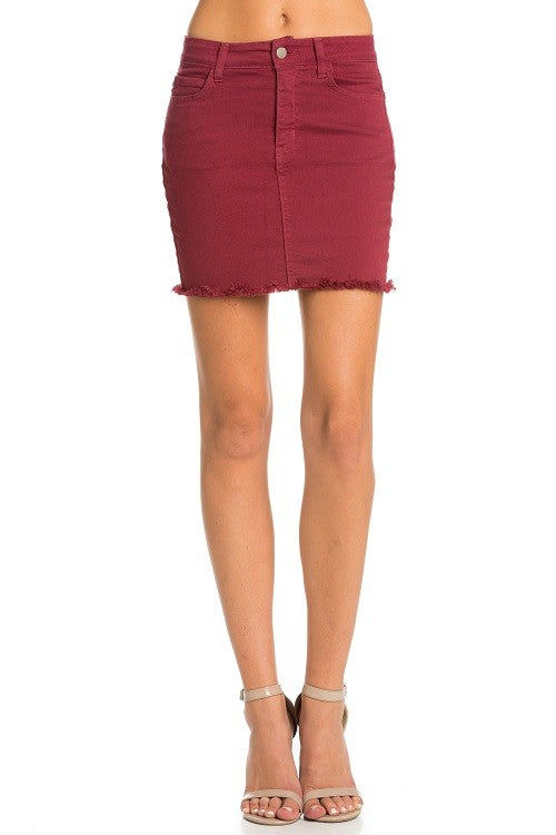 Alaina Wine Denim Skirt (4171890884747)
