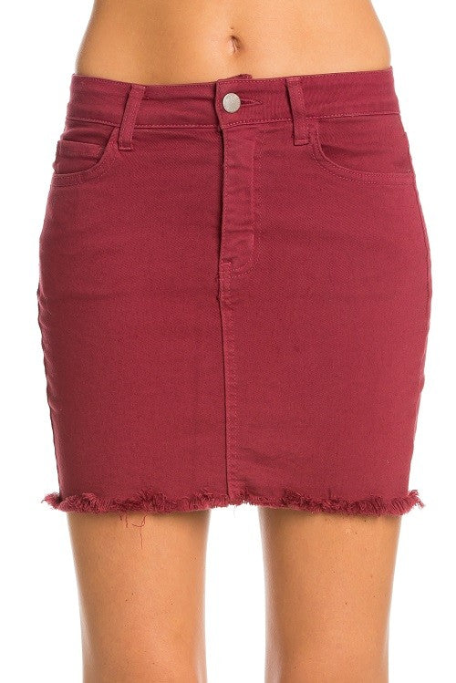 Alaina Wine Denim Skirt (3899631337532)