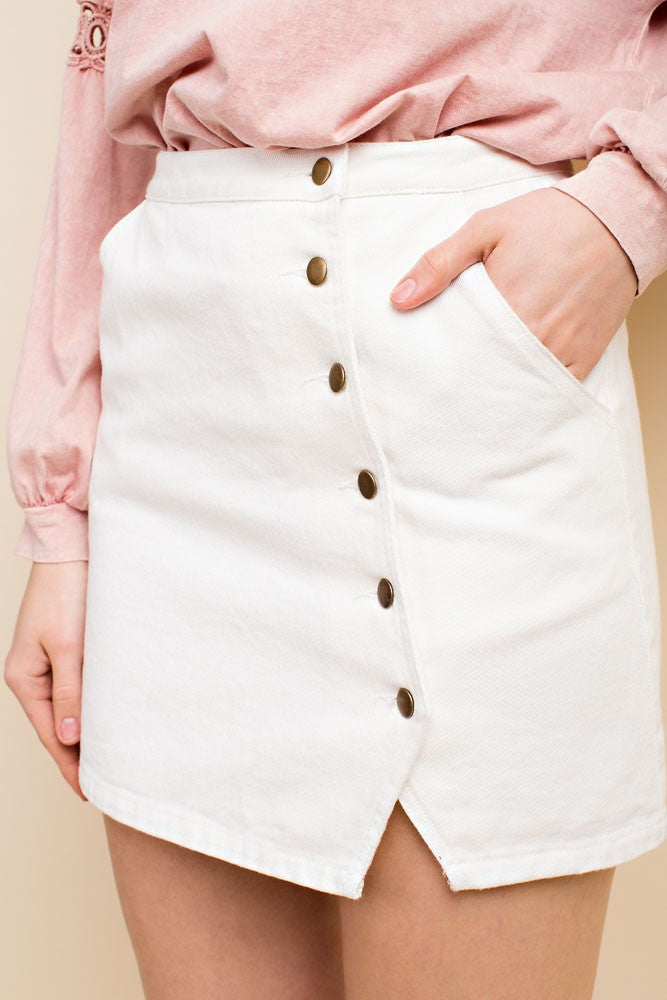 Blanca Button Up Mini Skirt (773727584316)