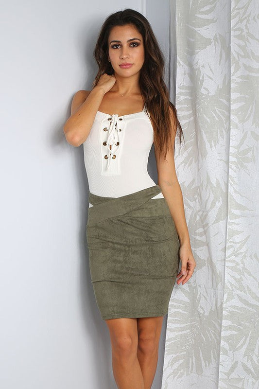 Love Suede Bodycon Skirt (6394422533)