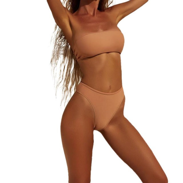 Panama High Waisted Bandeau Bikini Set - Nude (4786056953995)