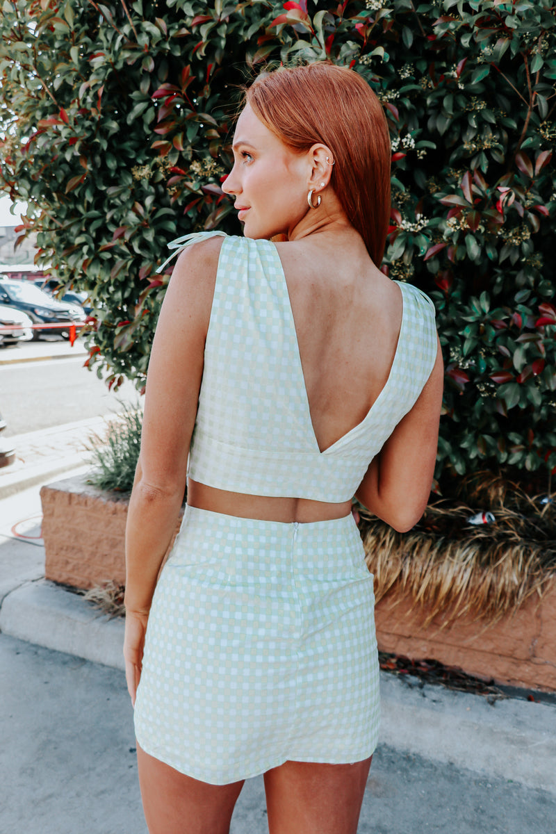Josie Gingham Top- Pistachio