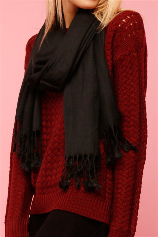 Black Fringe Trim Scarf (3265795909)