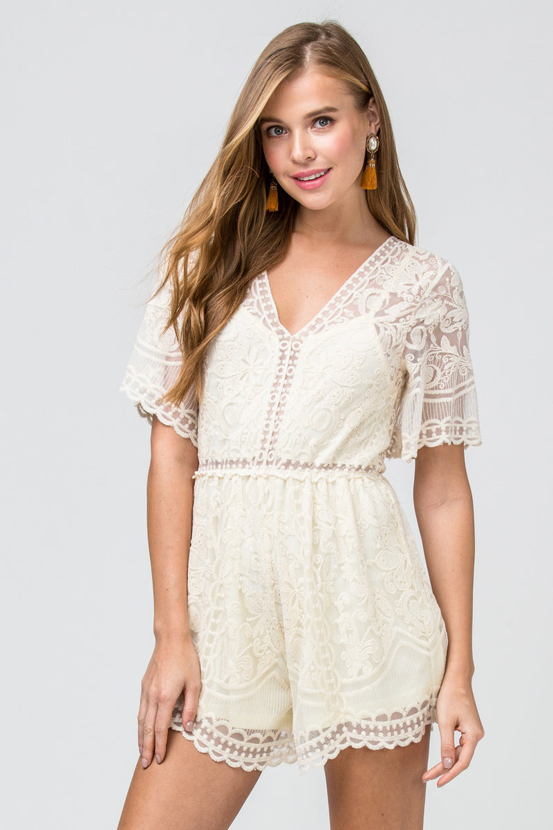Shea Lace Playsuit - Cream