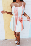 Cotton Candy Color Block Rope Tie Dress (3822250131516)
