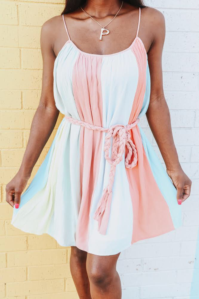 Cotton Candy Color Block Rope Tie Dress
