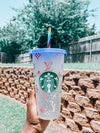 Starbucks Confetti Color Changing Reusable Cold Cup - LV Inspired