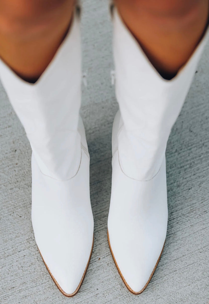 Kacy White Western Knee High Boot