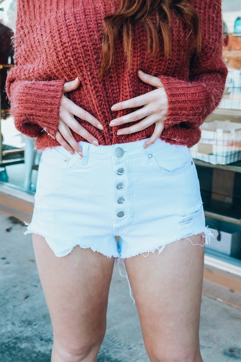 Palm Springs White Denim Shorts (4624357523595)