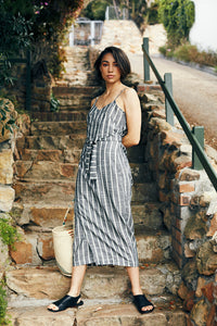 Striped Wrap Dress Black