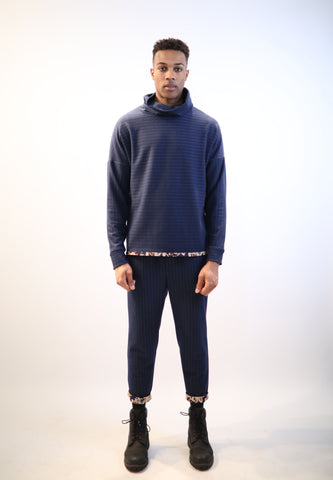 Oversized Turtleneck - Navy Blue Stripes Paisley