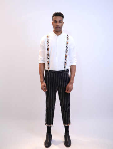Rolled Hem Cropped Trousers - Black Pinstripe Iris Floral