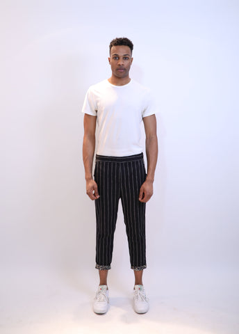 Rolled Hem Cropped Trousers - Black Pinstripe Paisley