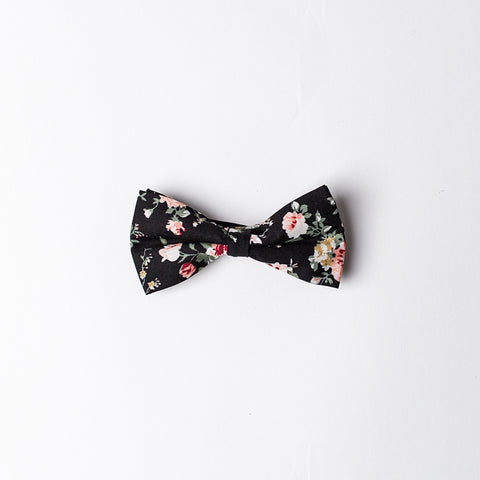 Black Pink Roses BowTie