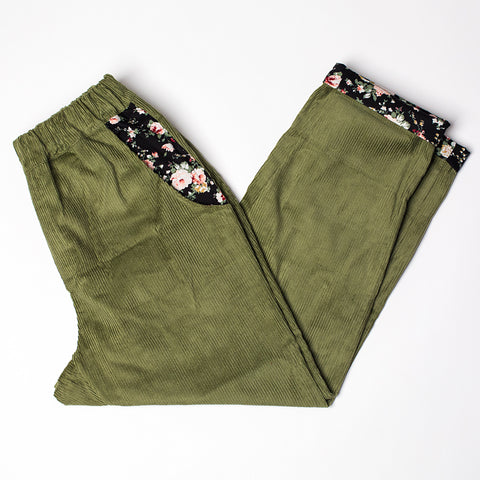 Rolled Hem Cropped Trousers - Green Corduroy Floral