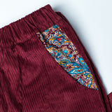 Rolled Hem Cropped Trousers - Pink/Burgundy Corduroy Blue Paisley