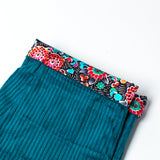 Rolled Hem Cropped Trousers - Blue Turquoise Corduroy Blue Paisley