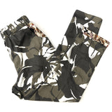 Rolled Hem Cropped Trousers - Camouflage Floral