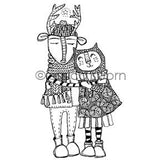 Jessica Sporn | JS7070L - Warm Hearts - Rubber Art Stamp