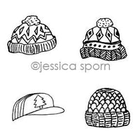 Jessica Sporn | JS7078H - Hats Cube - Rubber Art Stamp