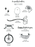 Lori Sparkly Franklin | LFSS04 - Happy Birdie Stamp Set - Rubber Art Stamps