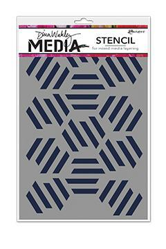 Dina Wakley MEdia Stencils - Fractured Hexagons
