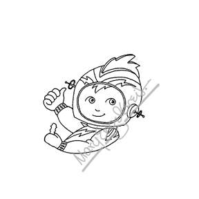 Mary Engelbreit | ME7679E - Rocket Pilot - Rubber Art Stamp