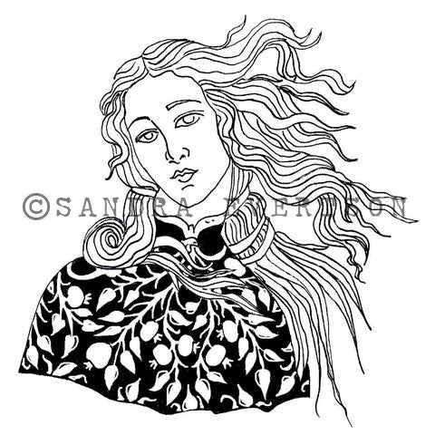 Sandra Evertson | Venus - SE6027L - Rubber Art Stamp