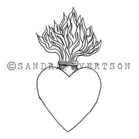 Sandra Evertson | Burning Heart - SE6030G - Rubber Art Stamp