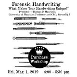 "Workshop | ""Forensic Handwriting – What Makes your handwriting unique?"""