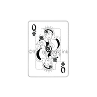 Her Majesty - Queen of Clubs ATC Size -  QI1003H - Rubber Art Stamp