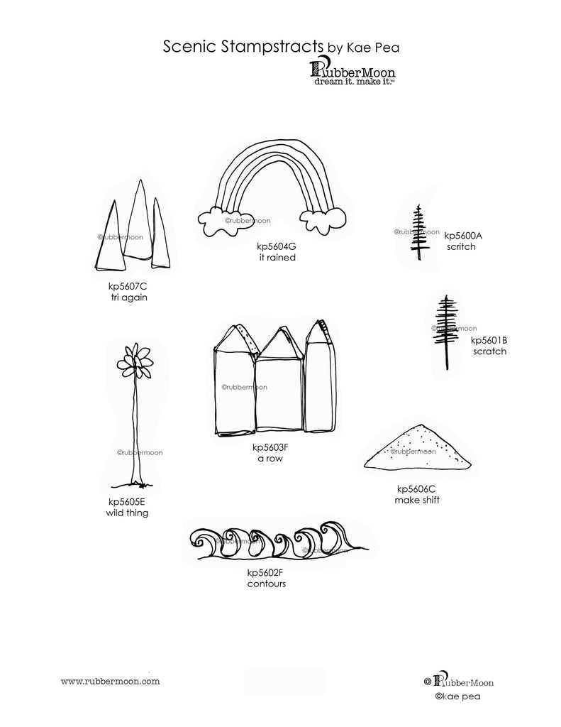 Kae  Pea - Scenic Stampstracts Rubber Art Stamp Set - Cling