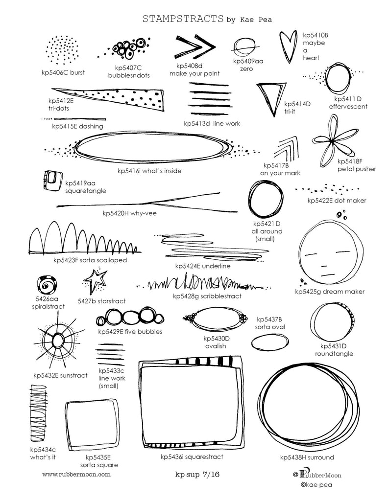 RubberMoon - Stampstracts Set 1 - Rubber Art Stamps