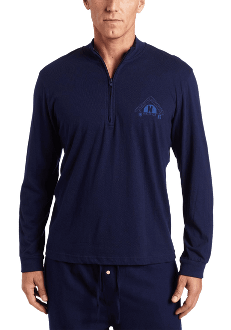 Nautica Men's Sleepwear Quarter Zip Knit Seaworthy