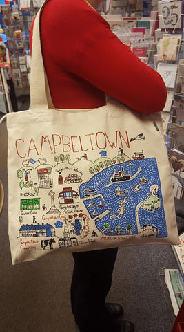 Campbeltown Landmarks Tote Bag (Natural handle)