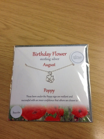 Sterling Silver Birthday Flower  Bracelet - August - Poppy